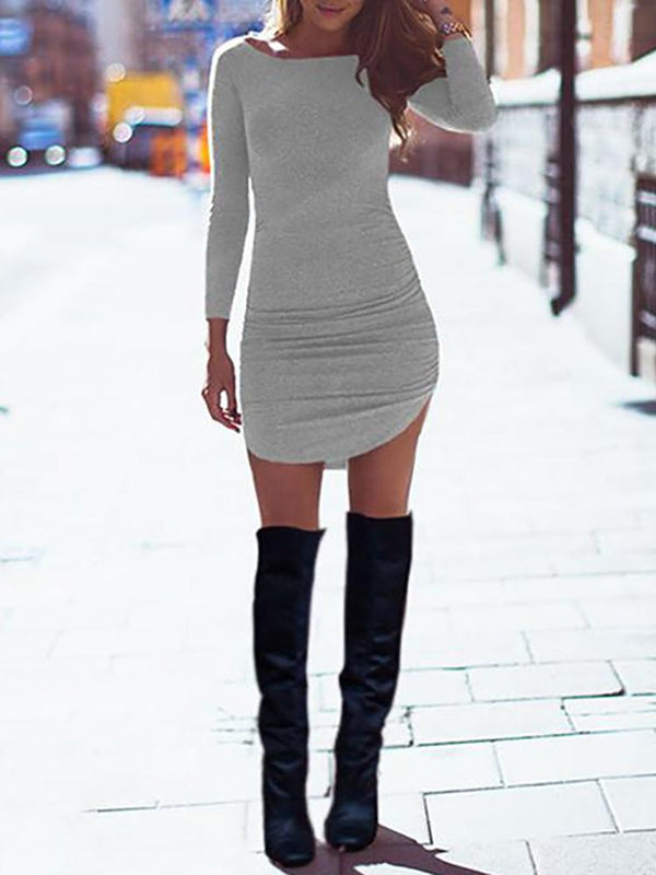 Women Fashion Long Sleeve Curved Hem Slim Bodycon Dress