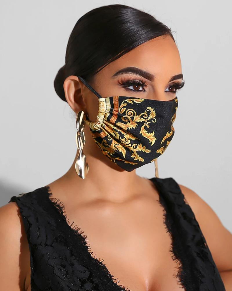 Print Breathable Mouth Mask Washable And Reusable Without Cord Lock Toggles