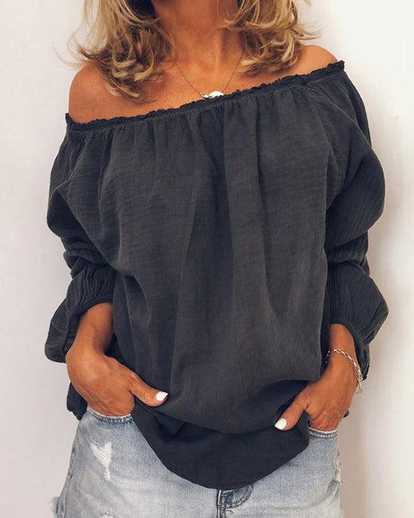 Off Shoulder Frill Hem Long Sleeve Casual Blouse