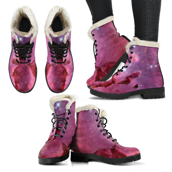 Nebula Faux Fur Leather Boots #1