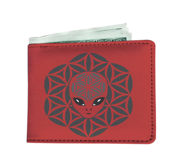 Red Alien Head Mandela Wallet