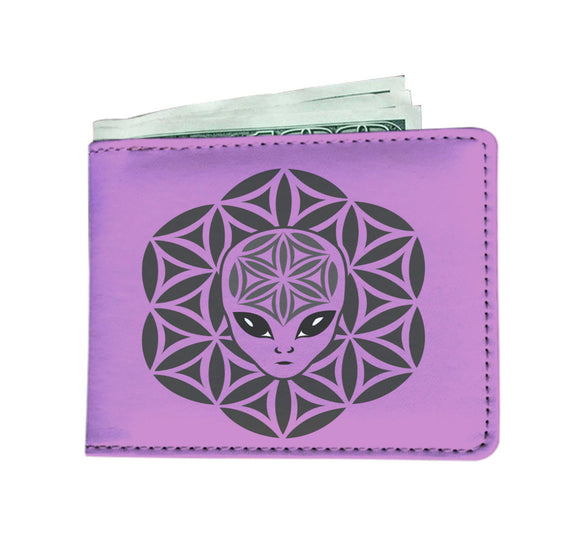 Alien Head Mandela Lavender Wallet