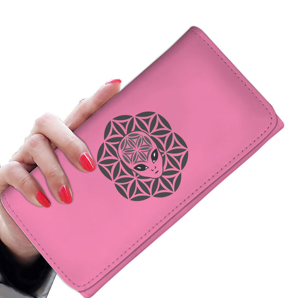 Pink Alien Head Mandala Women's Wallet