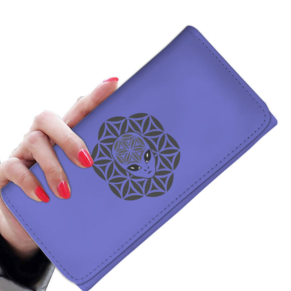 Blue Alien Head Mandala Women's Wallet