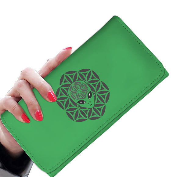Green Alien Head Mandala Women's Wallet