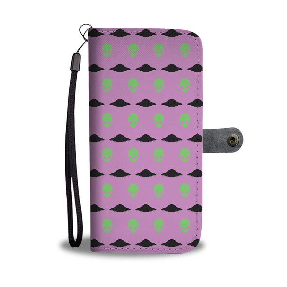 Lavender UFO and Alien Head: Wallet + Phone Case
