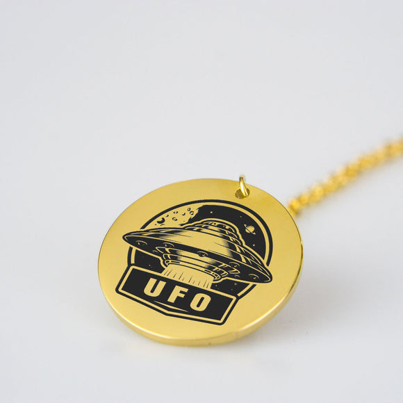UFO Engraved Pendant Necklace