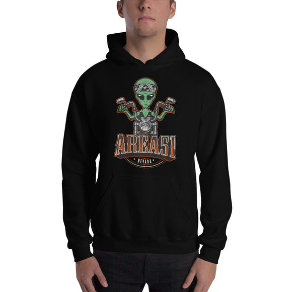 Area 51 Alien on Motorcycle Hoodie