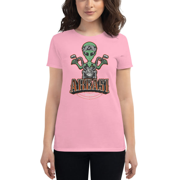 Area 51 Alien on Motorcycle Women's t-shirt
