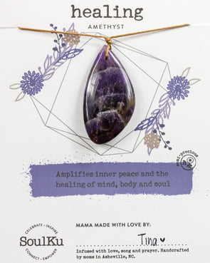 Amethyst Touchstone Necklace for Healing