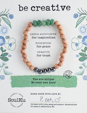 "Green Aventurine Gemstone ""Be Creative"" Be Your Own Hero Bracelet"