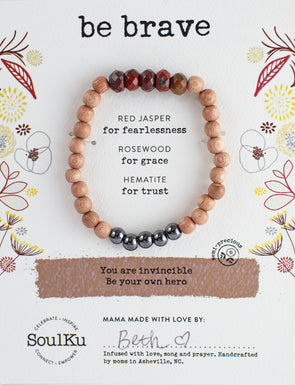 "Red Jasper Gemstone ""Be Brave"" Be Your Own Hero Bracelet"
