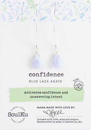 Blue Lace Agate Gemstone Soul-Full of LOVE Earrings for Confidence