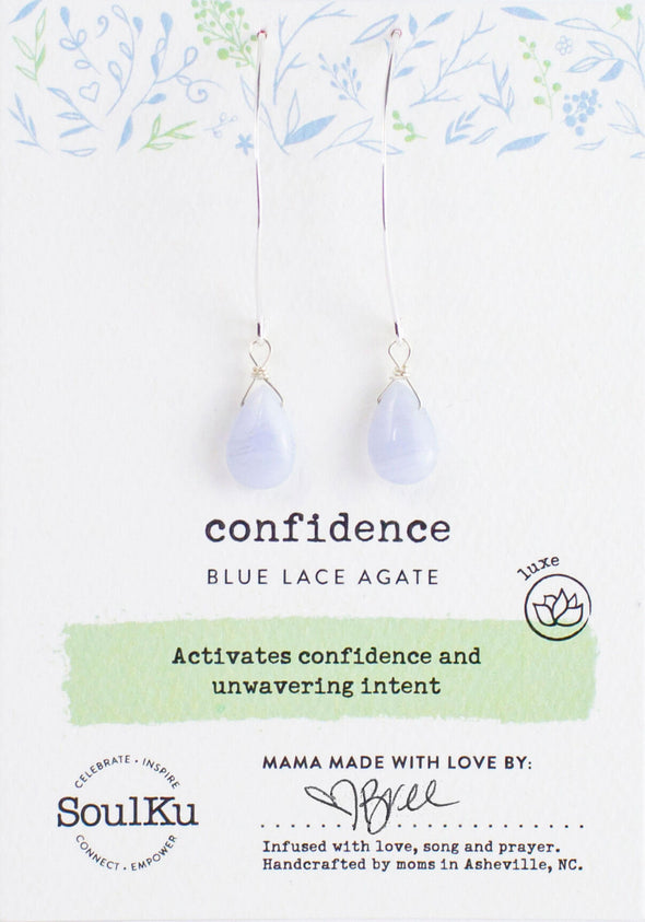 Blue Lace Agate Luxe Earrings for Confidence
