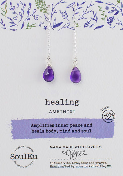 Amethyst Chain Threader Earrings for Healing