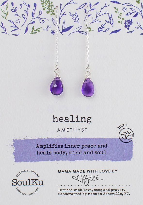 Amethyst Gemstone Fairy Threader Earrings for Healing