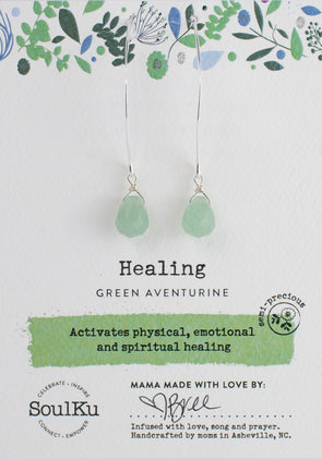 Green Aventurine Soul-Full of Light Long Earrings for Healing