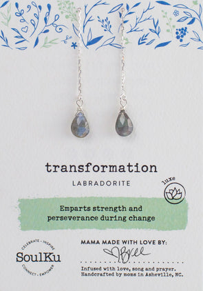 Labradorite Gemstone Fairy Threader Earrings for Transformation
