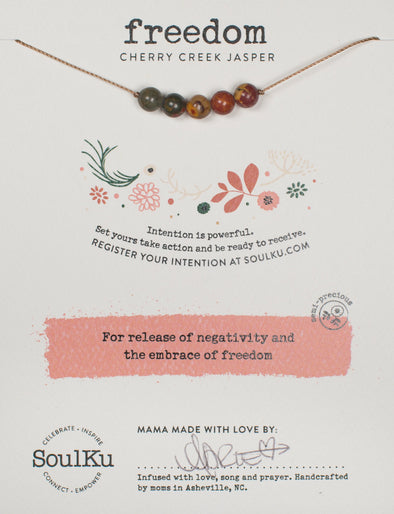 Cherry Creek Jasper Intention Necklace for Freedom