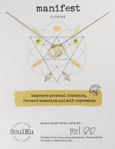 Citrine Gemstone Sacred Geometry Necklace to Manifest