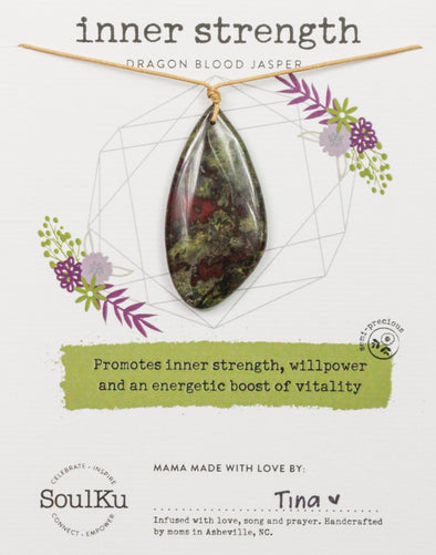 Dragon Blood Jasper Touchstone Necklace for Inner Strength