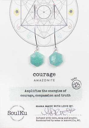 Amazonite Sacred Geometry Earrings for Courage (Silver)
