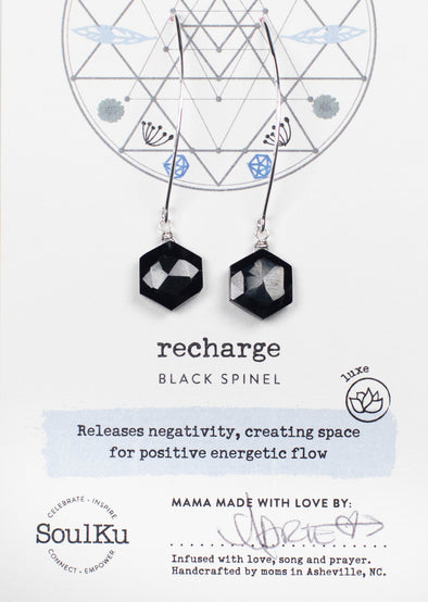 Black Spinel Sacred Geometry Silver Earrings for Recharge