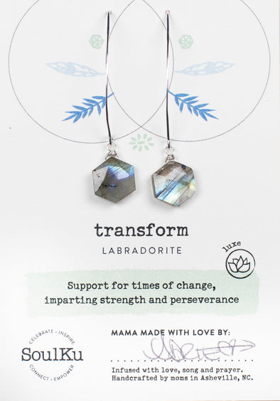 Labradorite Sacred Geometry Earrings for Transform (Silver)