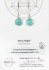 Amazonite Sacred Geometry Gold Earrings for Courage