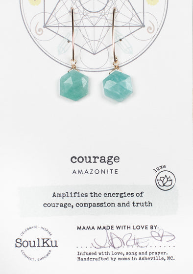 Amazonite Sacred Geometry Earrings for Courage (Gold)