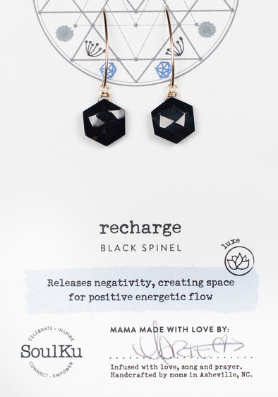 Black Spinel Sacred Geometry Earrings for Recharging (Gold)