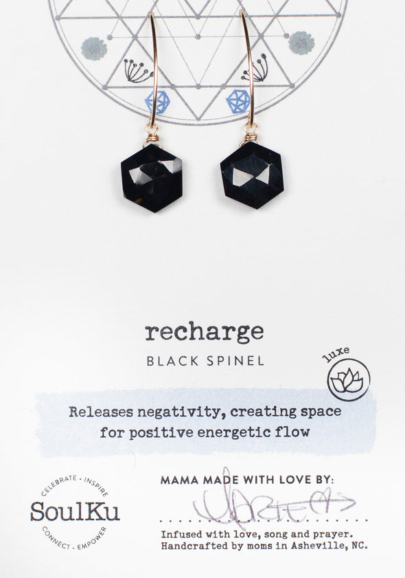 Black Spinel Sacred Geometry Gold Earrings for Recharge