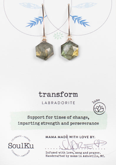 Labradorite Sacred Geometry Earrings for Transform (Gold)