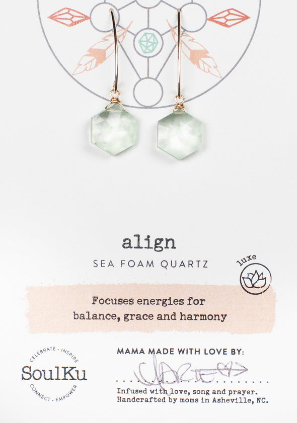 Sea Foam Quartz Sacred Geometry Gold Earrings to Align