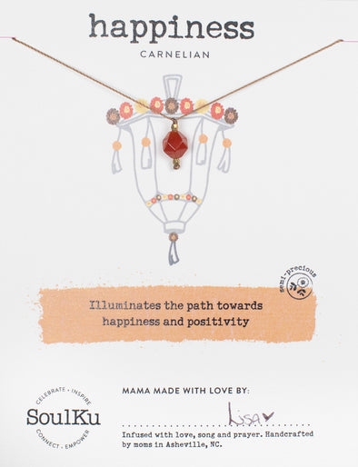 Carnelian Lantern Necklace for Happiness