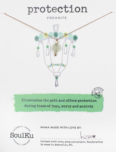 Prehnite Lantern Necklace for Protection