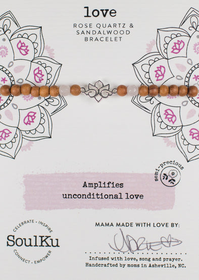 Rose Quartz Sandalwood Lotus Bracelet for Love