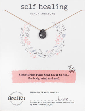 Black Sunstone Gemstone Soul-Full of LOVE Necklace for Self Healing