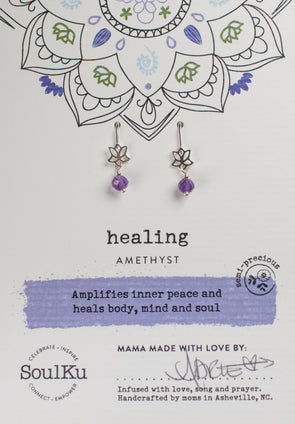 Amethyst Gemstone Lotus Earrings for Healing
