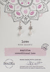 Rose Quartz Gemstone Lotus Earrings for Love