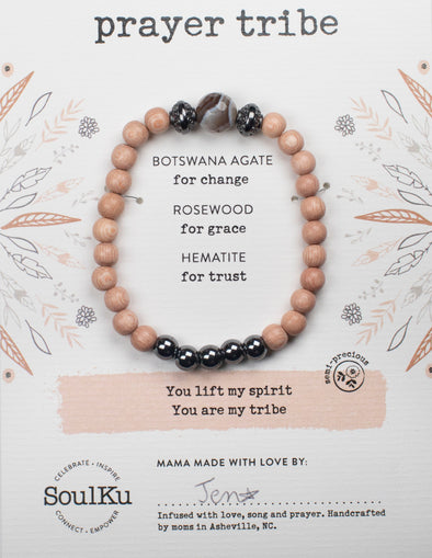 Botswana Agate Gemstone Prayer TRIBE Bracelet