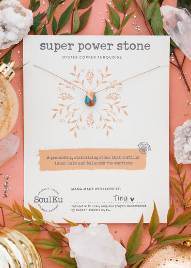 Super Power Stone Necklace in Oyster Copper Turquoise