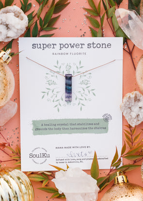Super Power Stone Necklace in Rainbow Fluorite