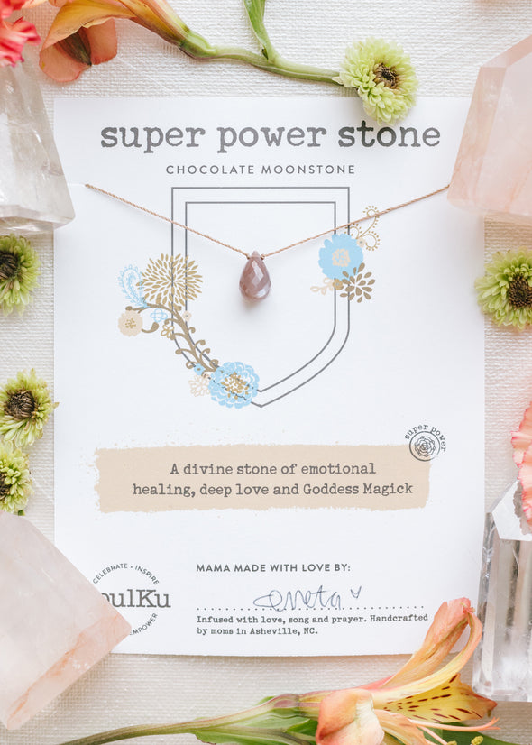 Super Power Stone Necklace in Chocolate Moonstone