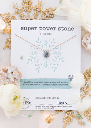 Super Power Stone Necklace in Silverite