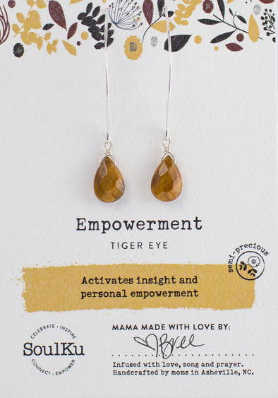 Tiger Eye Gemstone Soul-Full of LIGHT Long Earrings for Empowerment