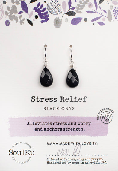 Black Onyx Soul-Full of Light Earrings for Stress Relief