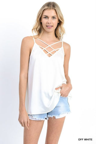 The Casey Crisscross Top : Cream