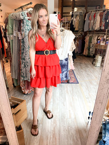 Caicos Ruffle Dress : Red