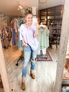 Oversized V Neck : lavender